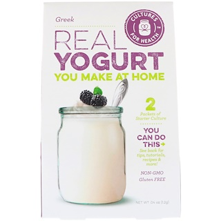 Cultures for Health, Yogur de verdad, griego, 2 paquetes, 0.04 (1.2 g)