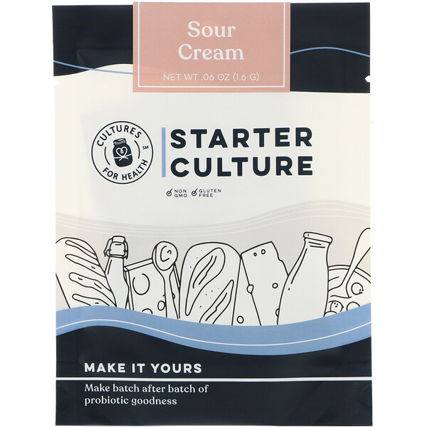 Cultures for Health, Starter Culture,  Sour Cream , 4 Packets, .06 oz (1.6 g) (Discontinued Item)