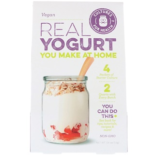 Cultures for Health, Yogur real, Vegano, 4 sobres, 1.6 g (0.06 oz)