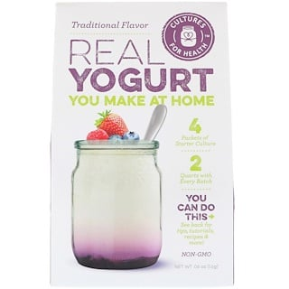 Cultures for Health, Yogur de verdad, sabor tradicional, 4 paquetes, 0.06 oz (1.6 g)