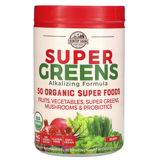 Country Farms, Super Greens, Alkalizing Formula, Berry, 10.6 oz (300 g)