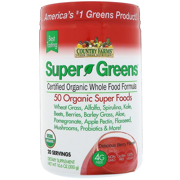 Super Greens, Certified Organic Whole Food Formula, Delicious Berry Flavor, 10.6 oz (300 g)