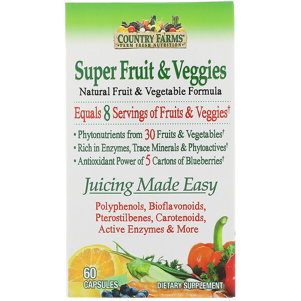 Country Farms, Super Fruit & Veggies, Natural Fruit & Vegetable Formula, 60 Capsules