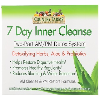 Country Farms, 7 Day Inner Cleanse, Two-Part AM/PM Detox System, 63 AM Cleanse Tablets, 21 PM Restore Tablets
