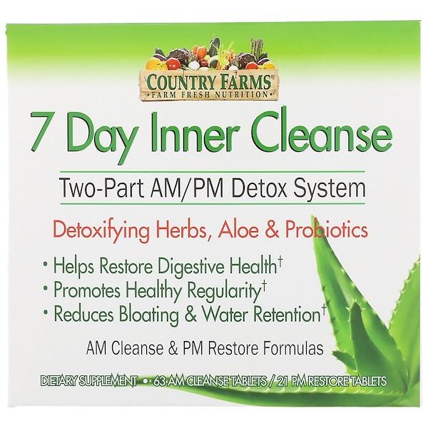 Country Farms, 7-дневный курс внутренней очистки, двухкомпонентная система детоксикации до полудня/после полудня, 63 капсулы для прием до полудня/21 капсула для приема после полудня