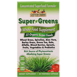 Country Farms, Super Greens, Whole Food Supplement, 60 Vegetable Capsules