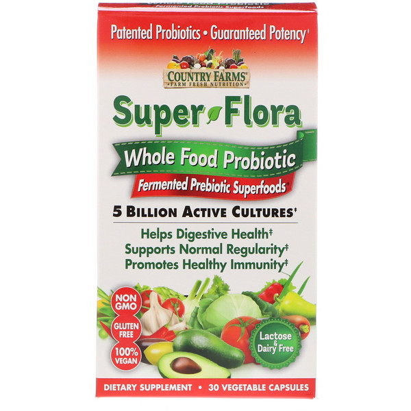 Country Farms, Super Flora, Whole Food Probiotic, Fermented Prebiotic Superfoods, 30 Vegetable Capsules