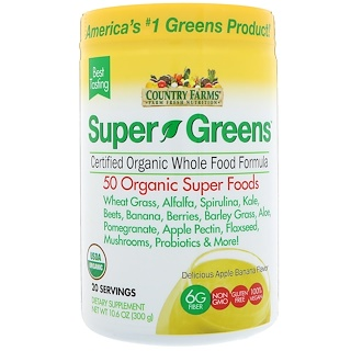 Country Farms, Super Greens, Certified Organic Whole Food Formula, Delicious Apple Banana Flavor, 10.6 oz (300 g)
