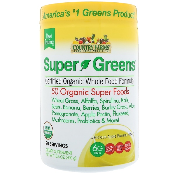 Country Farms, Super Greens, Certified Organice Whole Food Formula, Delicious Apple Banana Flavor, 10、6 oz (300 g)