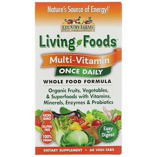 Country Farms, Living Foods, Multi - Vitamin, Once Daily, 60 Vegi-Tabs