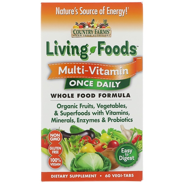 Country Farms, Living Foods, Multivitamin, einmal täglich, 60 vegetarische Tabletten