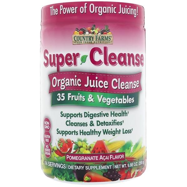 Country Farms, Super Cleanse, Organic Juice Cleanse, Pomegranate Acai Flavor, 14 Servings, 9、88 oz (280 g)