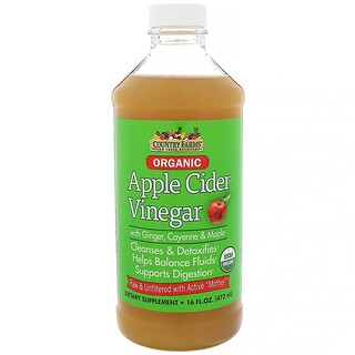 Country Farms, Organic, Apple Cider Vinegar with Ginger, Cayenne & Maple, 16 fl oz (473 ml)