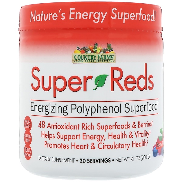 Country Farms, 超級紅,活力多酚超級食品,漿果味,7、1盎司(200克)