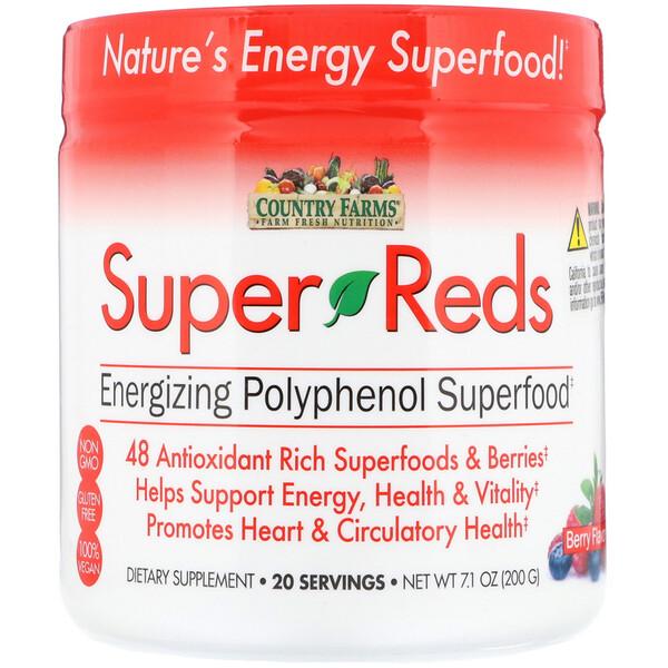 Country Farms, Super Reds, סופר-מזון פוליפנולי מגביר אנרגיה, פירות יער, 200 גרם (7.1 אונקיות)