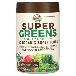 Country Farms, Super Greens, Alkalizing Formula, Chocolate, 10.6 oz (300 g)