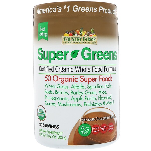 Country Farms, Super Greens, Certified Organic Whole Food Formula, Delicious Chocolate Flavor, 10.6 oz (300 g)