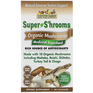 Country Farms, Super S'hrooms, Organic Mushrooms, Medicinal Superfood, 60 Capsules