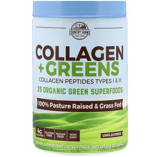Country Farms, Collagen + Greens, Unflavored, 10.6 oz (300 g)