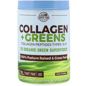 Country Farms, 膠原蛋白 + 綠葉蔬菜,無味,10.6 盎司(300 克)
