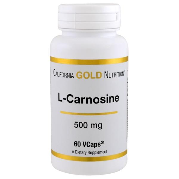 California Gold Nutrition, Lカルノシン 500mg ベジカプセル60錠 (Discontinued Item)