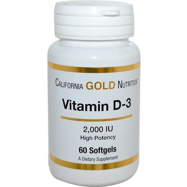 California Gold Nutrition, Витамин D-3, 2000МЕ, 60мягких капсул (Discontinued Item)