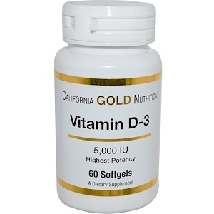 California Gold Nutrition, Vitamin D-3, 5,000 IU, 60 Softgels отзывы