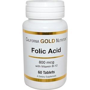 California Gold Nutrition, Folic Acid, 800 mcg, 60 Tablets отзывы