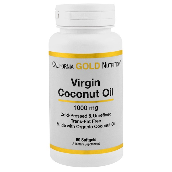 California Gold Nutrition, Virgin Coconut Oil, 1000 mg, 60 Softgels (Discontinued Item)