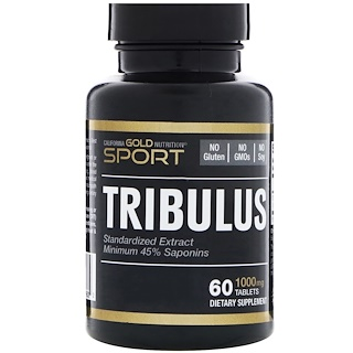 California Gold Nutrition, Tribulus, Standardized Extract, Minimum 45% Saponins, 1,000 mg, 60 Tablets