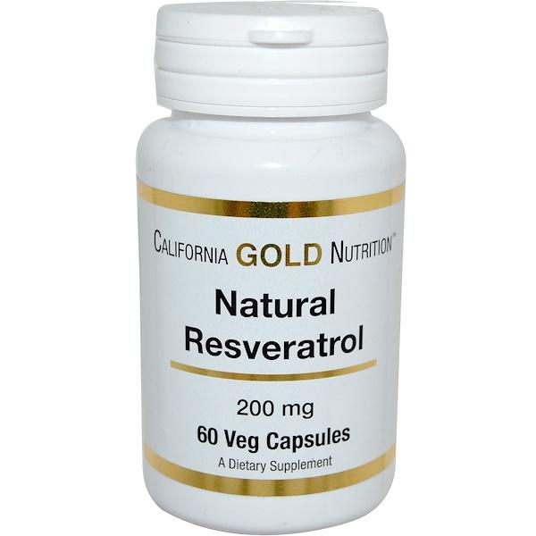 California Gold Nutrition, Натуральный ресвератрол, 200 мг, 60 растительных капсул (Discontinued Item)