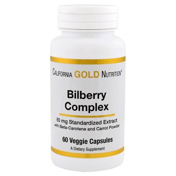 California Gold Nutrition, ビルベリーコンプレックス、80 mg、60カプセル (Discontinued Item)