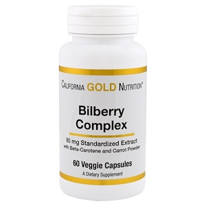 California Gold Nutrition, Bilberry Complex, 80 mg, 60 Capsules отзывы