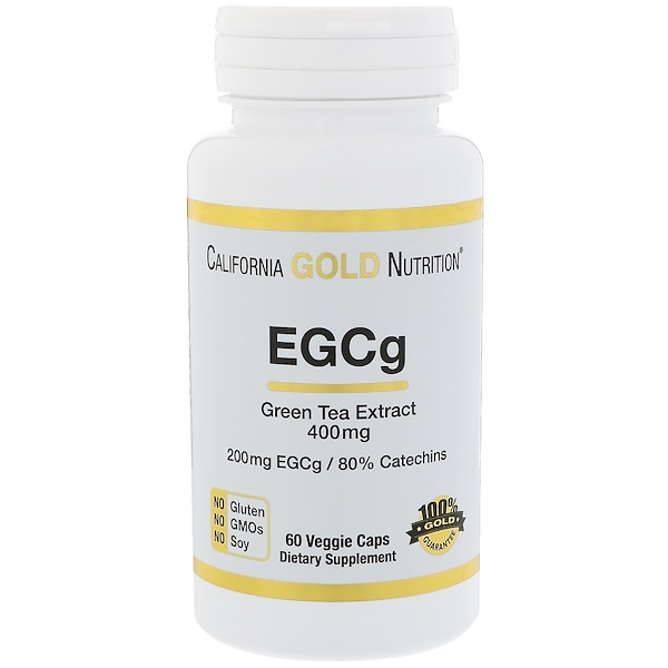 California Gold Nutrition, EGCg, Green Tea Extract, 400 mg, 60 Veggie Caps (Discontinued Item)