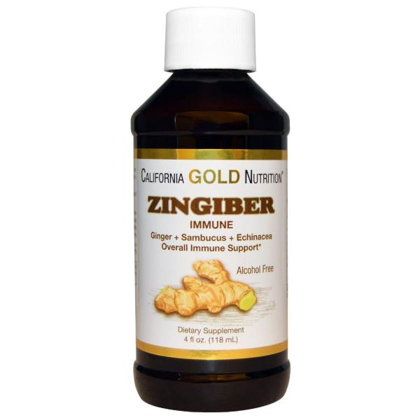 California Gold Nutrition, Zingiber Immune, Ginger + Sambucus + Echinacea, Alcohol Free, 4 fl oz (118 ml)