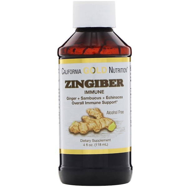California Gold Nutrition, Zingiber Immune, Ginger + Sambucus + Echinacea, Alcohol Free, 4 fl oz (118 ml) (Discontinued Item)
