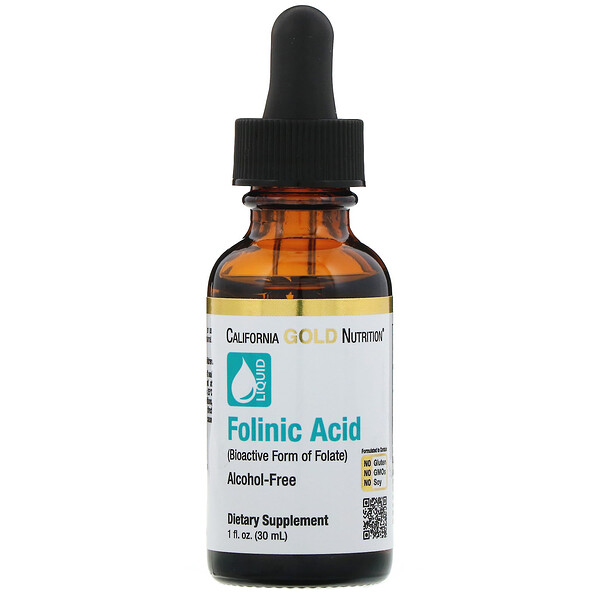California Gold Nutrition, Ácido folínico, libre de alcohol, 1 fl oz (30 ml)