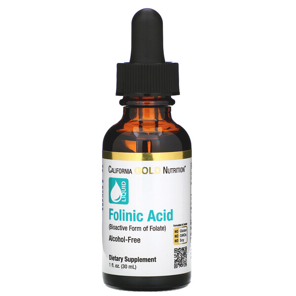 California Gold Nutrition, Ácido Folínico, Sem Álcool, 1 fl oz (30 ml)
