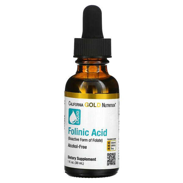 California Gold Nutrition, Folinic Acid, Alcohol Free, 1 fl oz (30 ml)