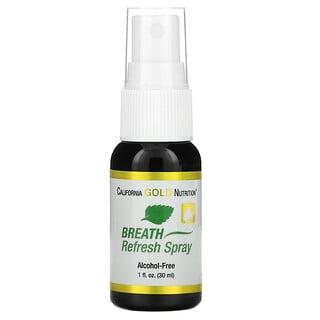California Gold Nutrition, Breath Refresh Spray, Alcohol-Free, Natural Peppermint and Cinnamon Flavor, 1 fl oz (30 ml)