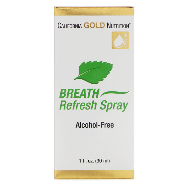 California Gold Nutrition, Spray Refrescante para o Hálito, Hortelã-Pimenta Natural, Sem Álcool, 30 ml (1 fl oz)