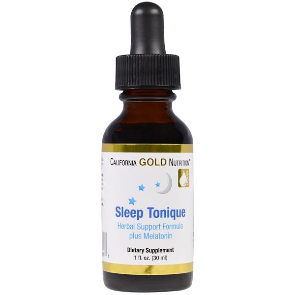 California Gold Nutrition, Sleep Tonique, Herbal Support Formula plus Melatonin, 1 fl oz (30 ml) (Discontinued Item)
