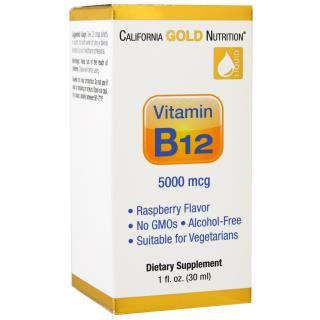 California Gold Nutrition, 액체 비타민 B12, 알코올 프리, 라스베리, 5000 mcg, 1 fl oz (30 ml)