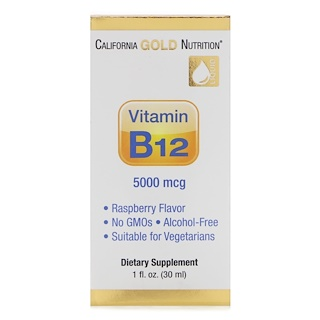 California Gold Nutrition, Vitamin B12 Liquid, Alcohol Free, Raspberry, 5000 mcg, 1 fl oz (30 ml)