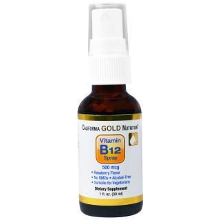 California Gold Nutrition, 비타민 B12 스프레이, 무알코올, 라스베리, 500 mcg, 1 fl oz (30 ml)