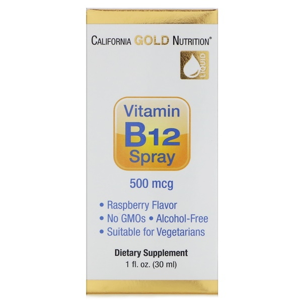 California Gold Nutrition, Vitamin B12 Spray, Alcohol Free, Raspberry, 500 mcg, 1 fl oz (30 ml)