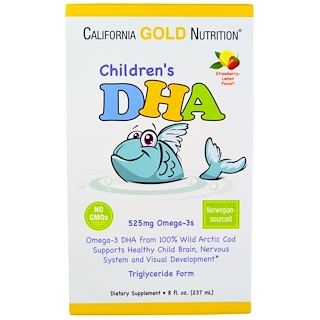 California Gold Nutrition, 子供用 DHA イチゴレモン味 8 fl oz (237 ml)