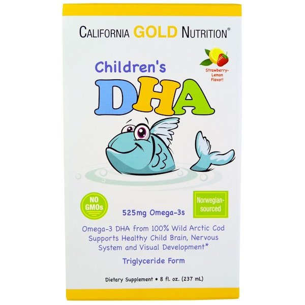 保健品EFA,歐米茄3 6 9(EPA DHA)DHACGN, Kids, Babies, Moms:California Gold Nutrition, 兒童DHA,草莓檸檬味,8盎司(237 毫升)