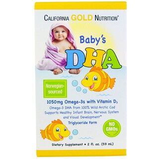 California Gold Nutrition, DHA para bebé, 1050 mg, Omega 3 con vitamina D3, 2 oz (59 ml)