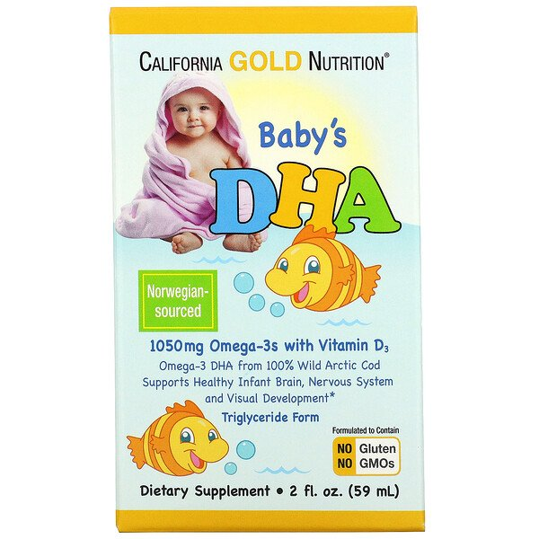 California Gold Nutrition, Baby's DHA, Omega-3s with Vitamin D3, 1050 mg, 2 fl oz (59 ml)